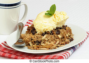 Apple Crisp and Ice Cream - Hot apple crisp served with...