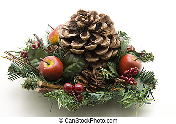 Christmas flower arrangement with pine plug on white...