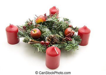 Christmas flower arrangement with candle on white background...