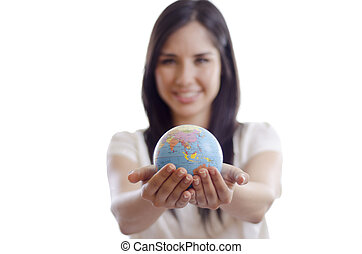 The world is in your hands - Cute girl handing over the...