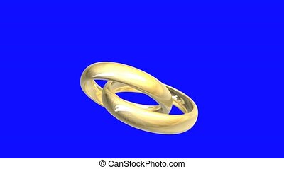 wedding rings in gold, blue-screen (3D animation)