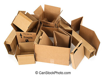 Pile of cardboard boxes - Pile of open cardboard boxes on...