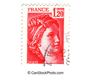 Old red french stamp - 1.2 franc