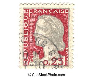 Old red french stamp - 25 cent