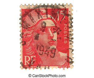 Old red french stamp - 15 franc
