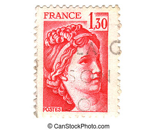 Old red french stamp - 1.3 franc