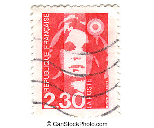 Old red french stamp - 2.3 franc