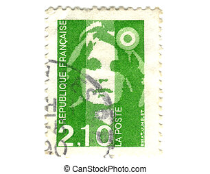Old green french stamp - 2.1 franc