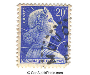 Old blue french stamp - 20 franc