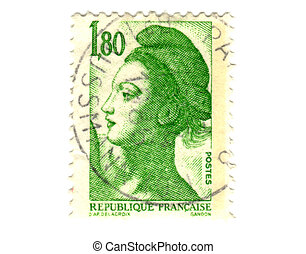 Old green french stamp - 1,8 franc