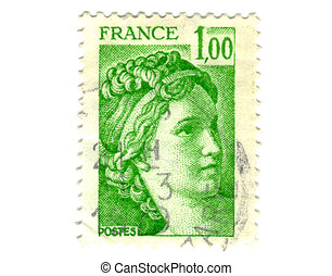 Old green french stamp - 1 franc