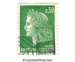 Old green french stamp - 30 cent