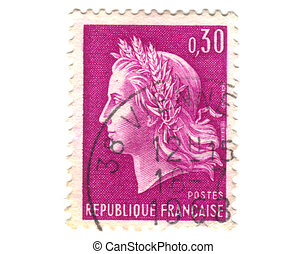 Old purple french stamp - 30 cent