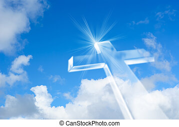 Beaming bright white cross in heaven - Christian cross over...