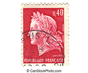 Old red french stamp - 40 cent