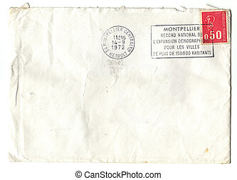 Old red french stamp on envelop - 50 cent