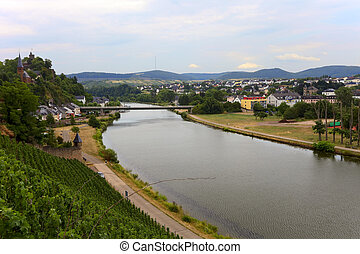 River Saar - View of the River Saar in the city Saarburg,...