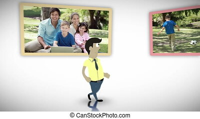 Happy family videos in a park - Animation of happy family...