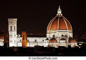 Night view of the Florence Duomo. Italy. Mediterranean...