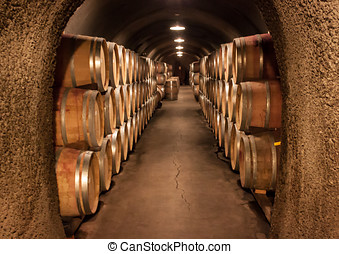 Wine Barrel Cave Storage - Nice cool temperatures in this...