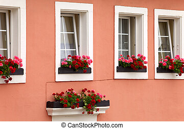 Historic facade of the house in town Saarburg,...