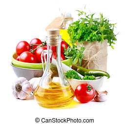 Olive oil, vegetables and herbs