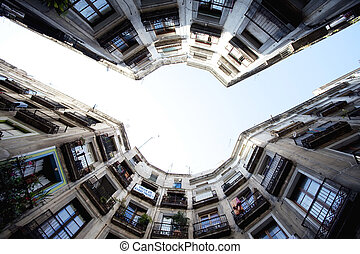 Round square with houses -Barcelona - Spain