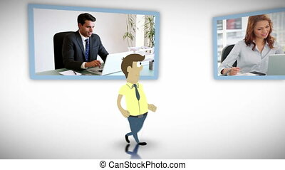 Videos of business people working o - Animation of business...