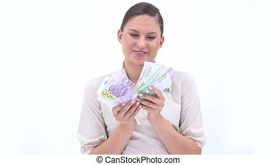 Businesswoman holding banknotes