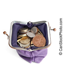 Violet wallet is full of silver, bronze and gold coins,...