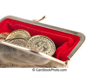Scattered silver and gold coins are in hot red purse,...