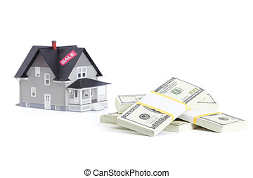 Bundles of dollars in front of home architectural model, isolated