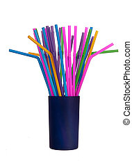 Bendy plastic drinking straws in pot, isolated - White...