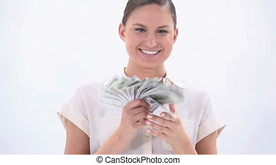 Happy woman holding banknotes - Video of a happy woman...