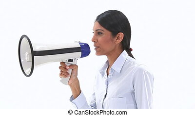 Woman talking into a megaphone