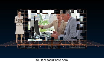 Business people working on a comput - Animation of business...