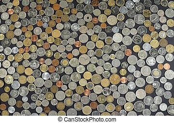 Background with many coins