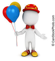 3d white people clown with balloons, isolated white...