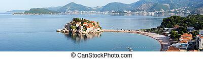 Sveti Stefan sea islet morning summer panorama Montenegro -...