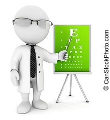 3d white people optician pointing an eye chart, isolated...