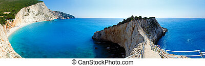 Porto Katsiki beach summer panorama (Lefkada, Greece) -...