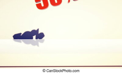 50 percent discount falling and smashing the ground with...