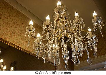 hermoso, cristal, araña de luces