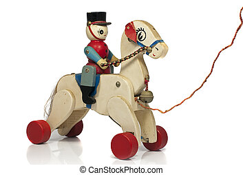 play horse with soldier in wood