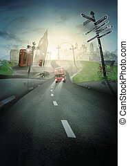 Road to London for Olypic games. Illustration of London...