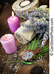 Lavender spa setting Wellness theme with lavender products