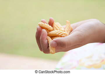 hand and snack food
