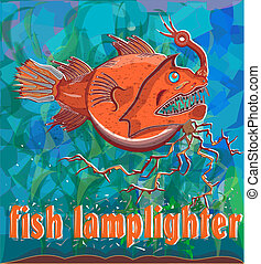 fish lamplighter - deep sea fish floating on the ocean floor...