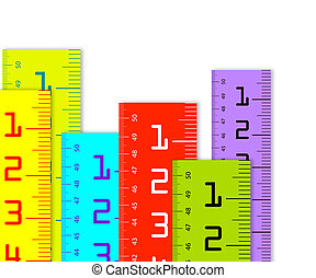Millimeter and inch rulers - colorful Millimeter and inch...