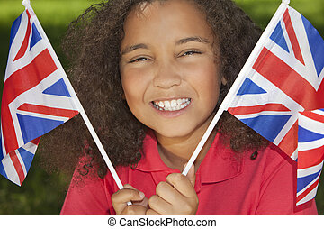 Beautiful Mixed Race Girl with Union Jack Flags - Portrait...